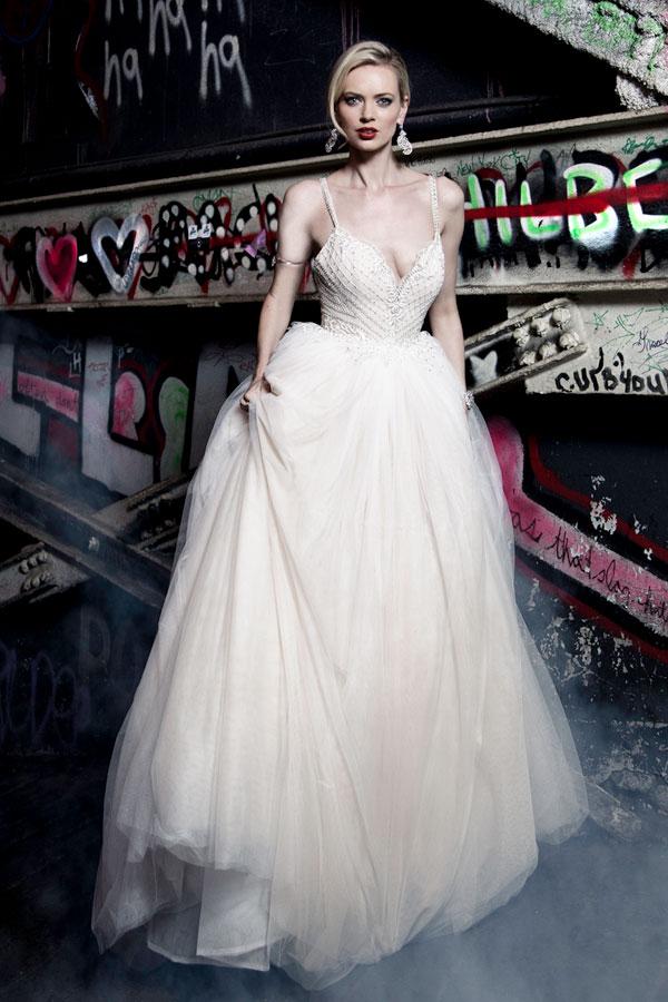 Tulle Wedding Dress Straps Plunge Back